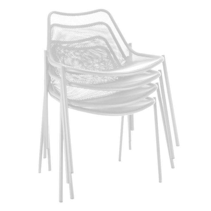 Emu   Round Gartenstuhl 4er Set   Weiß/Stahl/4 Stück