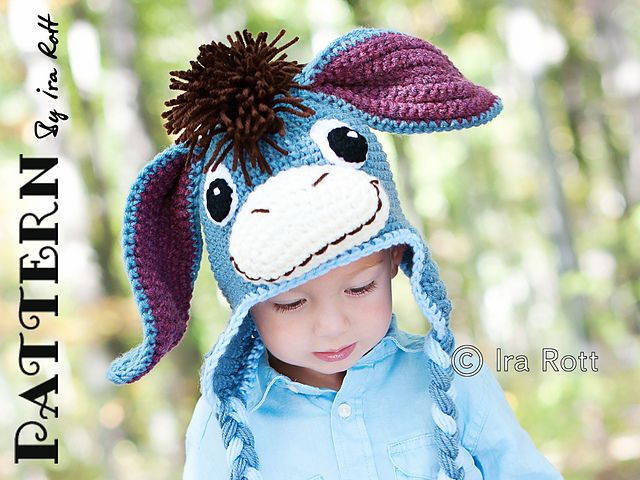 One day, I'll crochet this for my child! I've always loved Eeyore, and this is so cute!  Ravelry: Funky Donkey Hat with Tail - Crochet PDF Pattern pattern by Ira Rott