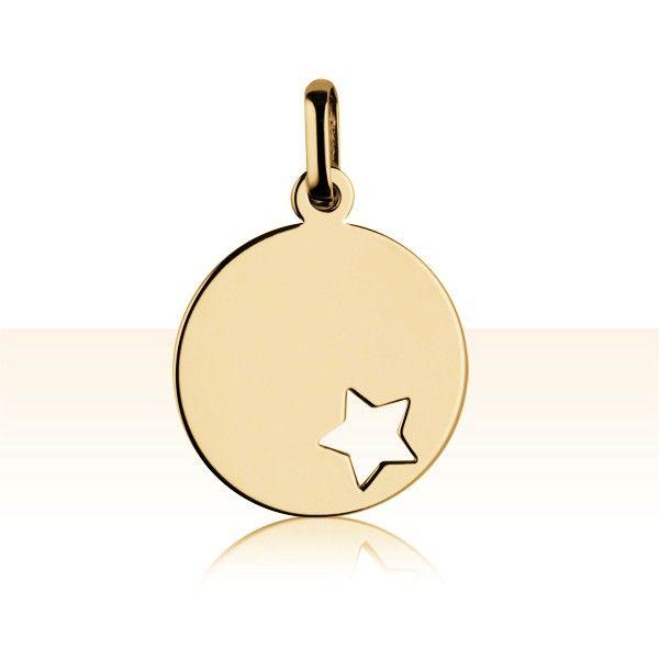 Médaille Or 375 °°° ETOILE AJOUREE | BIJOUX BAPTEME A GRAVER | ENFANT & BEBE | TERREDEBIJOUX.COM