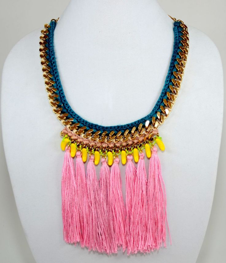 Banana Necklace - #InspiredLuxe #HenrietteBotha #chain #woven #necklace #jewelry #fringe #tassle #ethnic #african #handmade #artisan #crochet #fashion