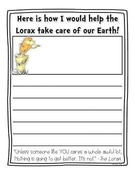 After reading The Lorax by Dr. Seuss, Have your students celebrate Earth Day by writing about how they would help the Lorax to take care of our earth.Enjoy! :)