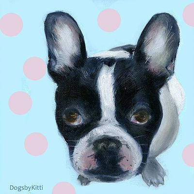 French Bulldog oilpainting  oil and mixed technique on hardwood  15x15x2 cm  for gift