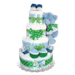Blue Teddy Bear Diaper Cake For Boy 4 Tier / Unique Gift For Baby Shower