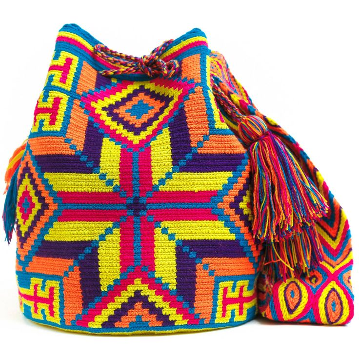 Cabo Mochila Boho Bags are tightly woven by two strands of thread and intricate in their designs, taking 14-20 days to crochet/ weave.  The braided strap has its own unique design and detail.  Perfect for the day or night, this bag is a great poolside and beach accessory. Handmade in Colombia by the indigenous Wayuu people. Colombian Import & Fair Trade.