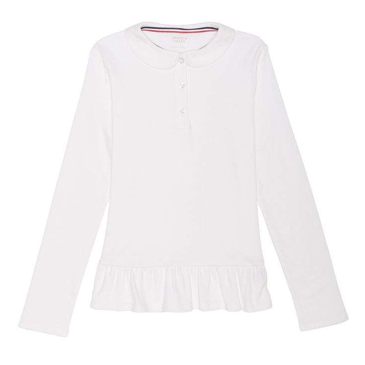 Girls' French Toast Knit Long Sleeve Peplum Polo - White L