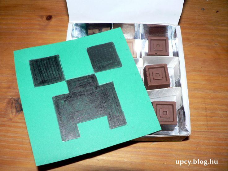 Home made chocolate in Minecraft Creeper box.  Házi csoki Minecraft dobozban.