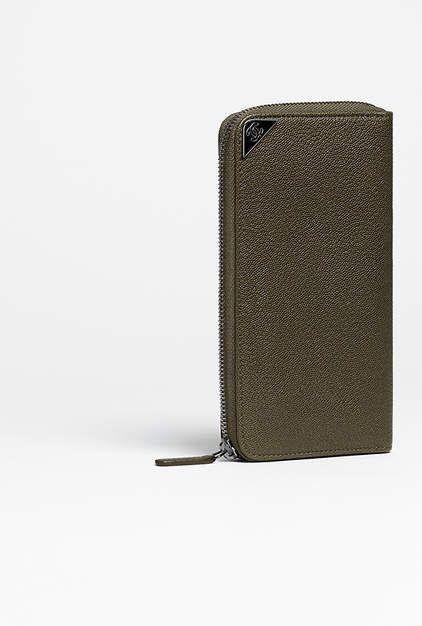 Portefeuille zippé, taurillon grainé & métal noir-kaki foncé - CHANEL