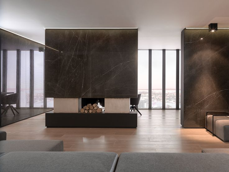 XLIGHT Premium Savage Dark - #URBATEK #Venis #Noken #PORCELANOSA - Gres porcelánico de fino espesor #precious #stones #marble #porcelain #tile #porcelaintiles #floors #ceramics #design #architecture #interiors #minimalism #lines #home #dark #browm #polished #living #fire #fireplace