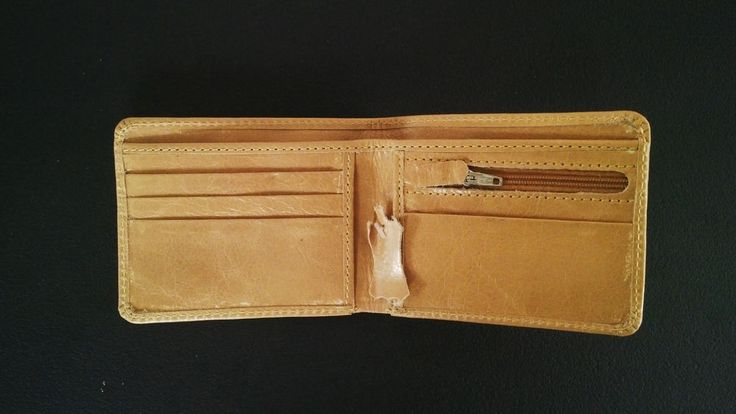 Leather Wallet Men Purse Genuine Real Leather Brown Bi fold Cardholder Hand Made #Handmade #Bifold