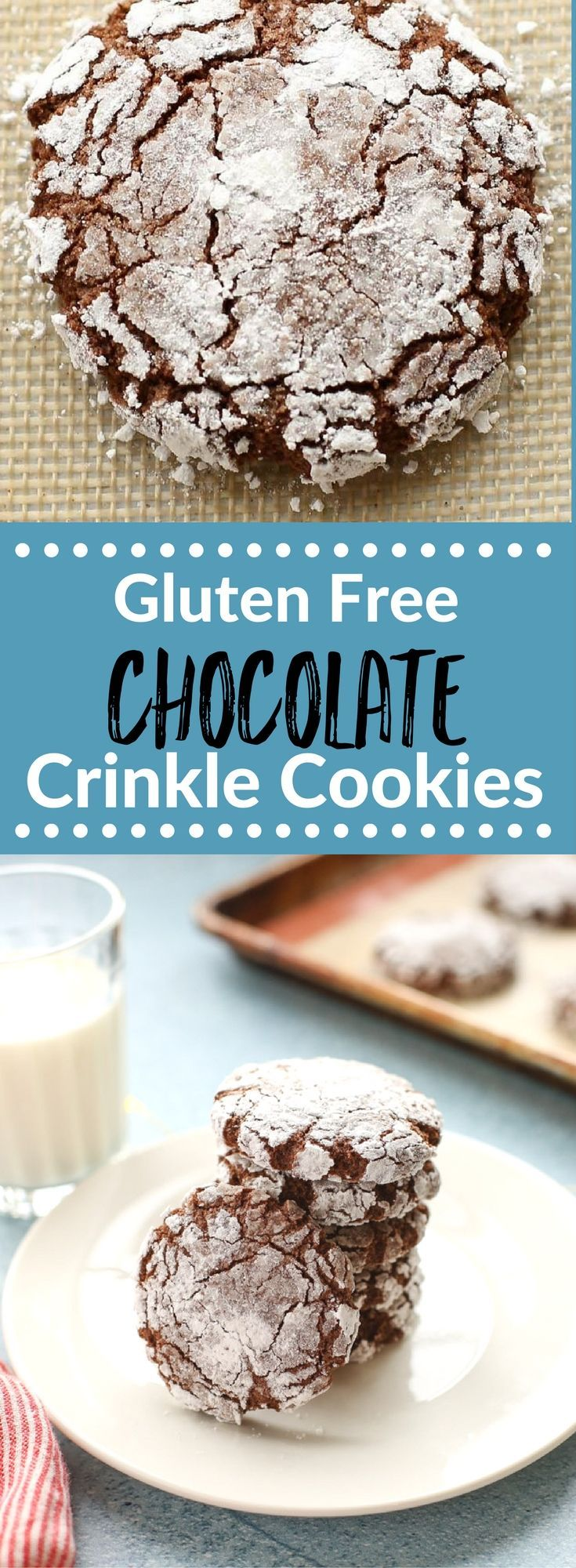 These Gluten Free Chocolate Crinkle Cookies are perfect for holiday gift giving and cookie exchanges. They are made with almond flour and have a fudgy, not too sweet flavor that everyone will love. {gluten free} via @lkkelly98