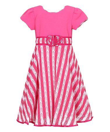 Look what I found on #zulily! Fuchsia & White Stripe Party Dress - Toddler #zulilyfinds