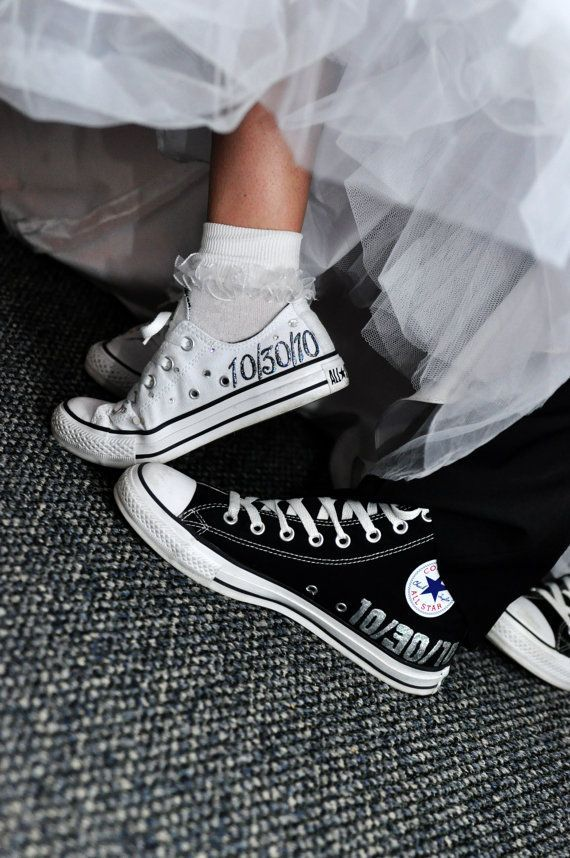 Wear personalized Chuck Taylor Converse to show off the bride and grooms (and bridal partys) offbeat style! Im going to go ahead and call this one a DIY ALERT for the more crafty and artistic brides and grooms. If your comfortable enough to do it, you can hand paint custom details on your Chucks; or any other shoes!