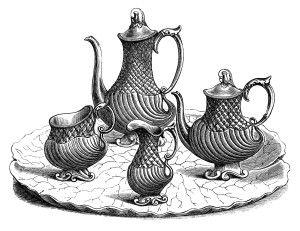 conjunto victoriano té, clip art cocina de época, imágenes prediseñadas en blanco y negro, antiguo servicio de té y café,