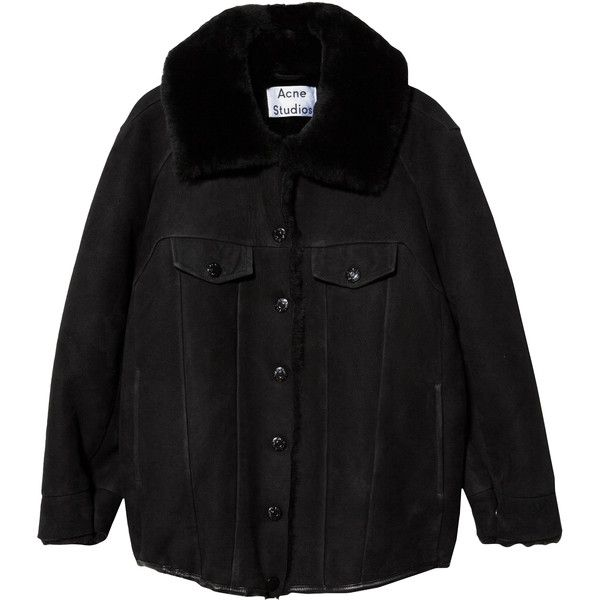 Acne Studios Meta Shearling Coat (€2.245) ❤ liked on Polyvore featuring outerwear, coats, jackets, coats & jackets, black, black coat, long sleeve coat, faux coat, acne studios and shearling coat