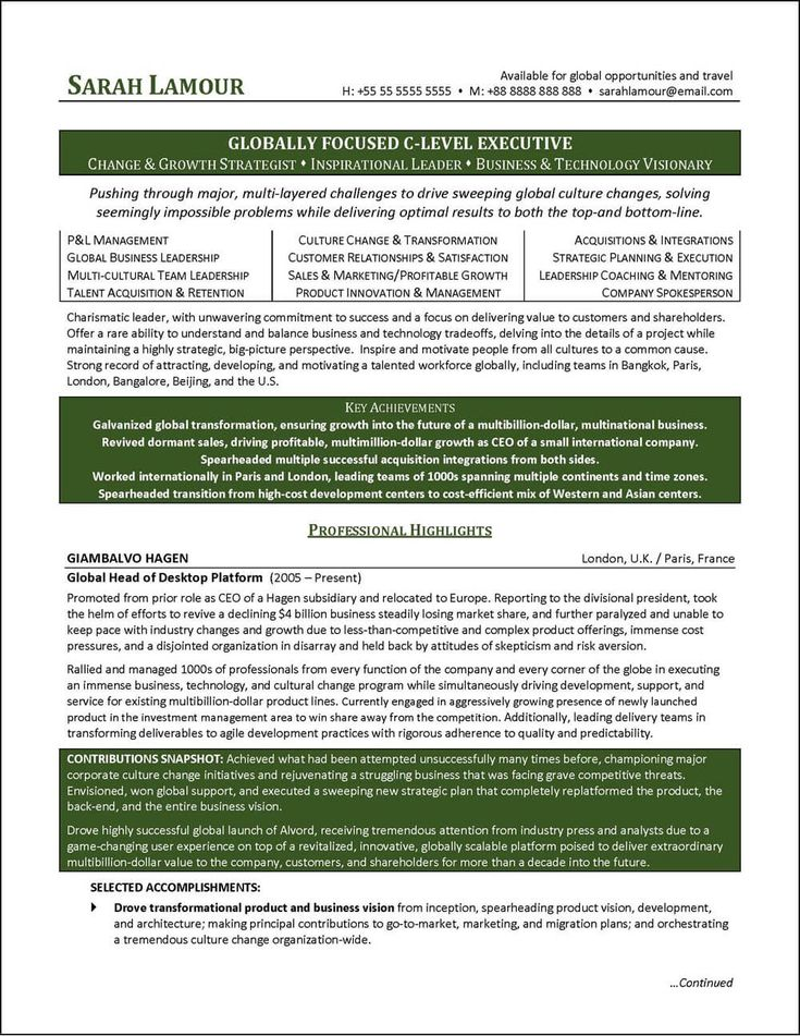this c level executive resume was professionally written for a global business executive with extensive