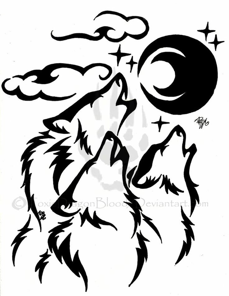Images For > Tribal Wolf Drawing Howling