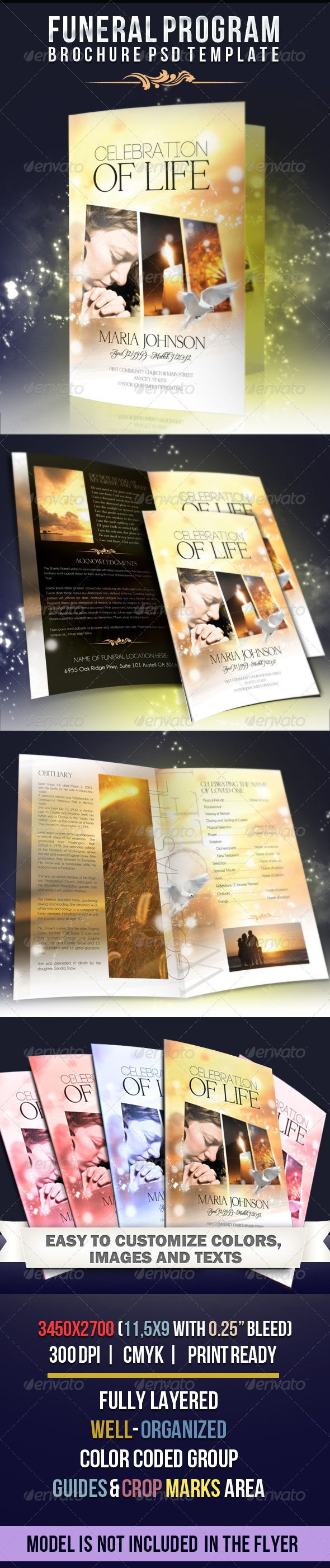 Celebration of life funeral program brochure template for Program brochure templates