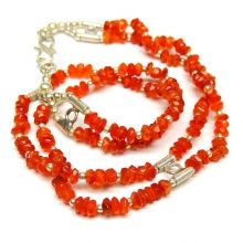 ALLNONLY CARNELIAN TWO LINE NECKLACE
