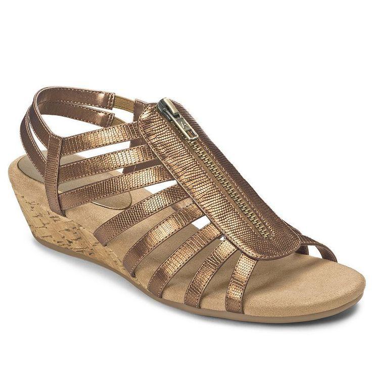 A2 by Aerosoles Yetaway Women's Zip-Up Wedge Sandals, Size: 6.5 Wide, Lt Orange