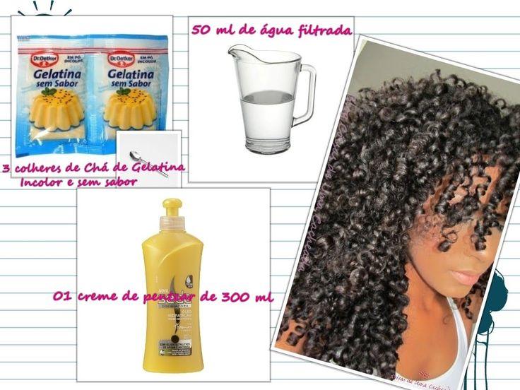 Gelatina Incolor + creme para pentear, cachos definidos e day after de s...
