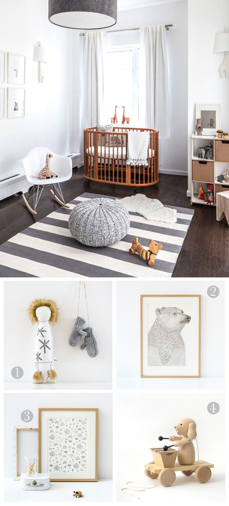 We love this adorable nursery, with its calming grey/white colour schemes andaccents of natural wood. We think our prints and wooden toys would fit perfectly i