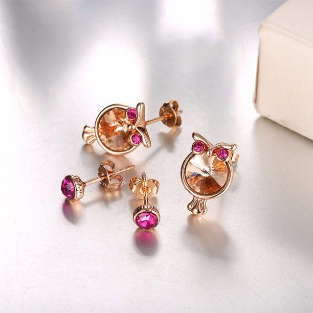 2017 Hot Sale High Quality Owl Earrings 18K Rose Gold Plate Genuine Austrian Crystal Animal Stud Earrings for Women