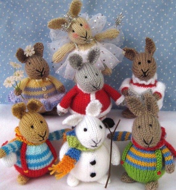 6 lapins hiver tricot motif  INSTANT DOWNLOAD  jouet par dollytime