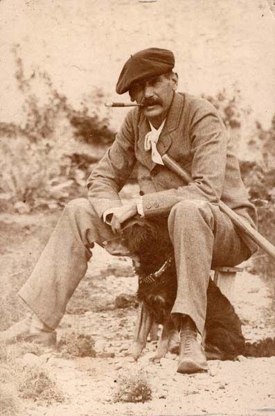 Benito Pérez Galdós y su perro.