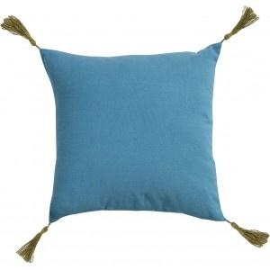 Coussin Pompons bleu Jardin d'Ulysse