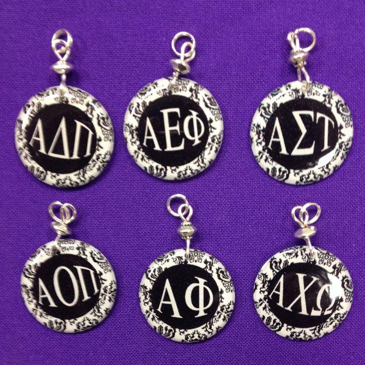 Sorority Greek Letter Charms - Alpha Chi Omega, Alpha Gamma Delta, Alpha Omicron Pi, Alpha Delta Pi , Alpha Epsilon Pi, Alpha Phi by AnnPedenJewelry on Etsy