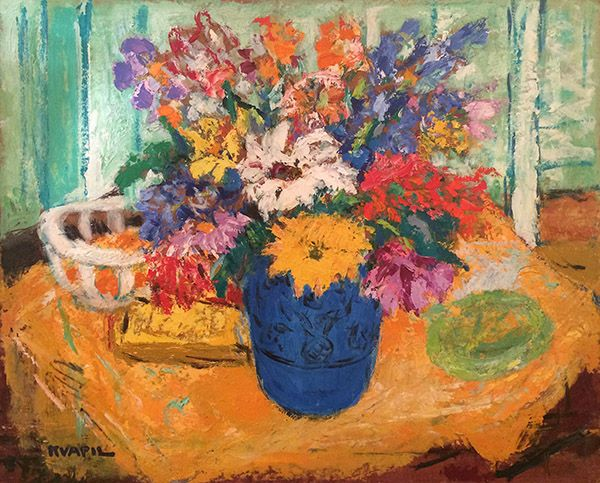 'Bouquet' Oil on Panel: 60 x 73 cm Signed by Charles Kvapil (1884 – 1957)