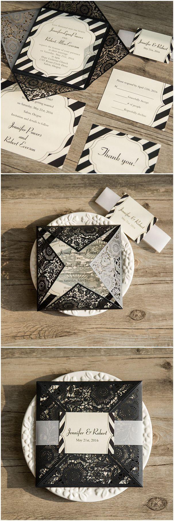 black laser cut pocket with striped inner cards wedding invitations @elegantwinvites