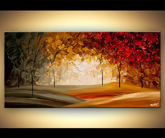 Original Red Blooming Tree Painting Modern Palette by OsnatFineArt, $320.00