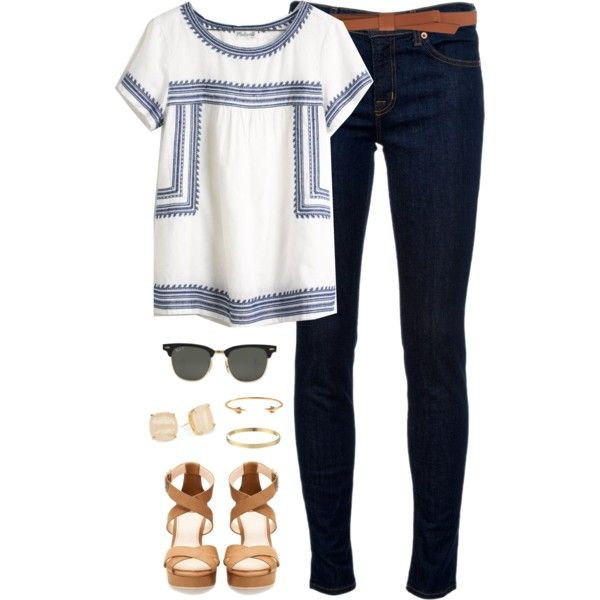 Casual/ White top with blue embroidery, dark wash skinny jeans, brown belt, beige strappy heels, gold accessories, Ray Bans