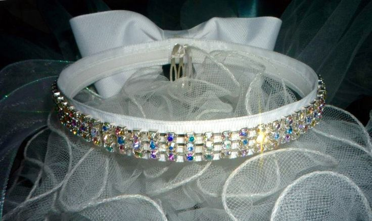 Communion / flower girl crown with crystals and bow.