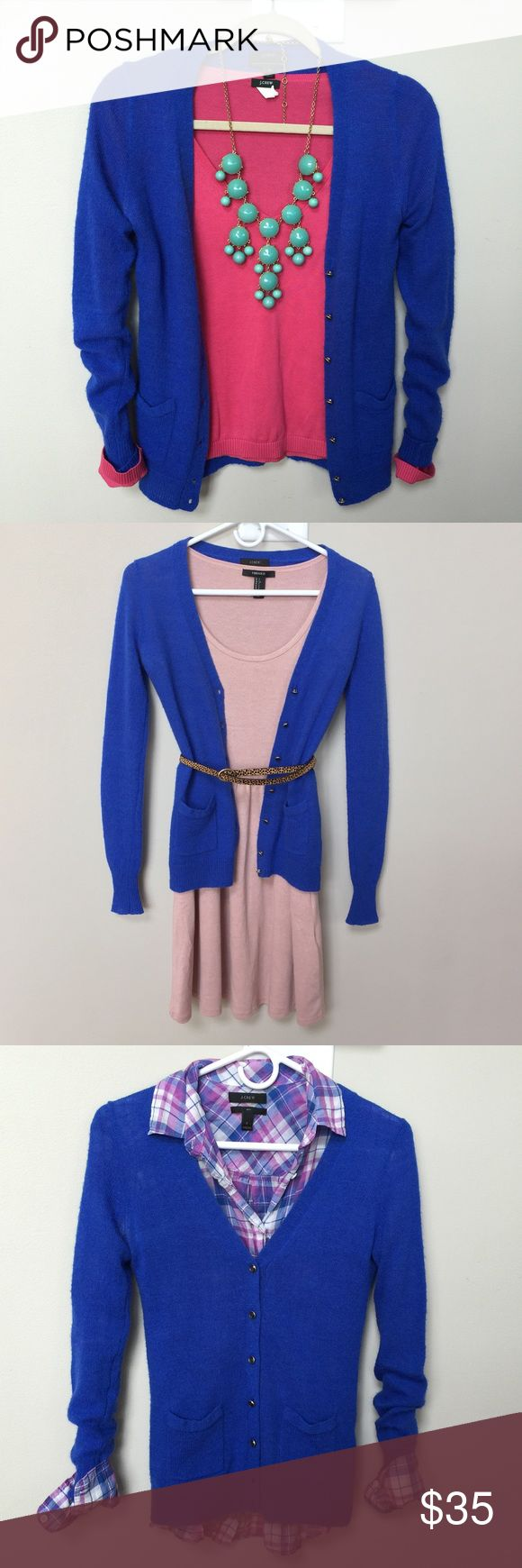 Jcrew Royal blue Cardigan Jcrew Cardigan- Worn 3 times- royal blue, light weight, two front pockets, button up,size XS.. Pink top also available in my closet! J Crew Sweaters Cardigans