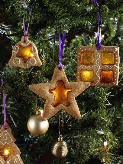 Decorazioni, biscotti da appendere all'albero