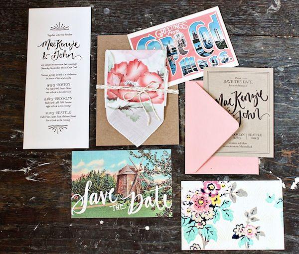 Oh So Beautiful Paper: MacKenzie + John's Hand Lettered Cape Cod Wedding Invitations