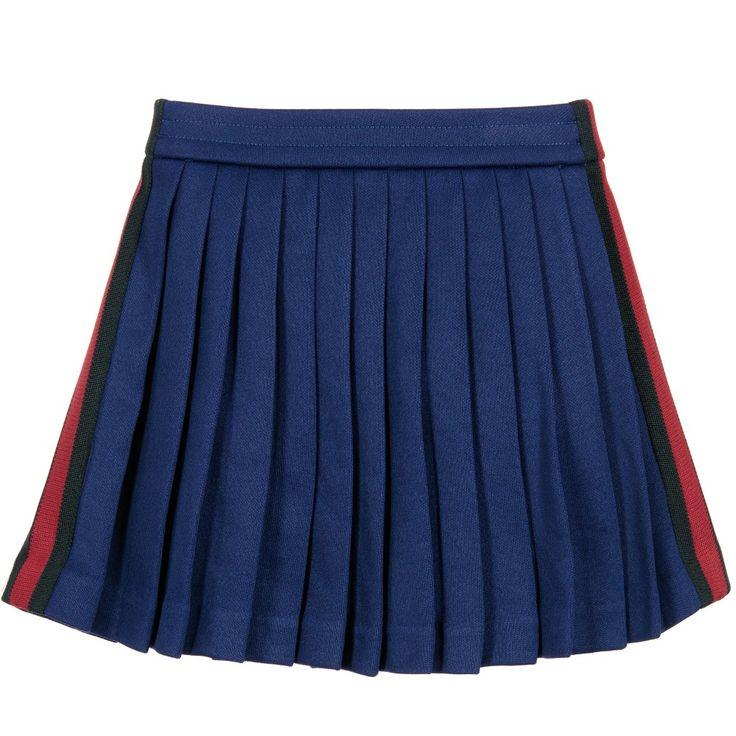 Gucci Girls Blue Pleated Skirt at Childrensalon.com