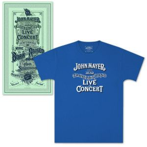 Exclusive John Mayer T-shirt + Poster from the Born & Raised Tour at the Nikon Jones Beach Theater, Aug. 2013.