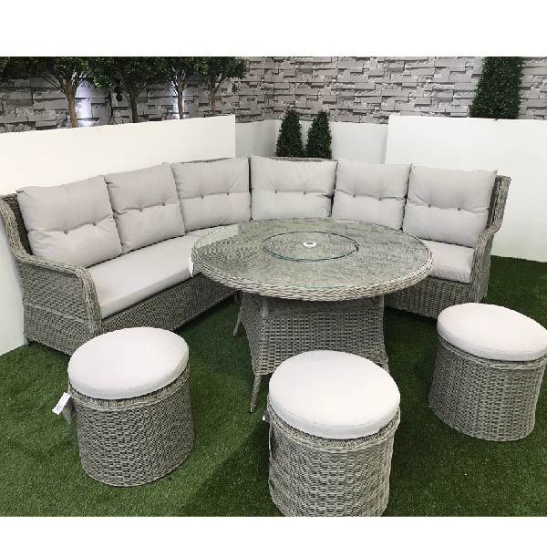 this set includes 1 x king left hand curved bench 1 x king right hand curved bench 1 x king round table with integrated lazy susan 3 x king round stools - Garden Furniture King