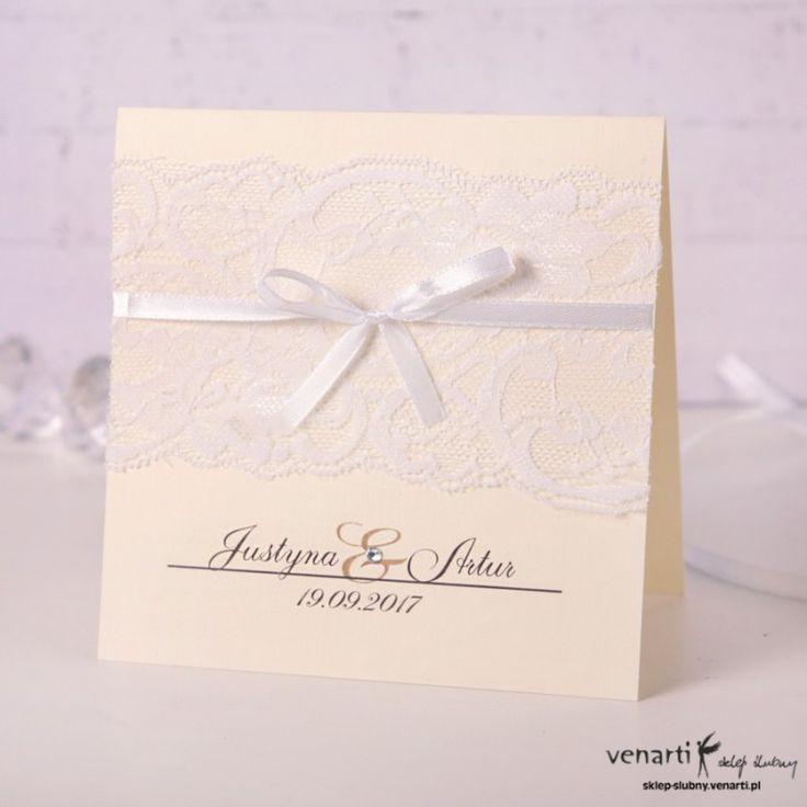 Zaproszenie ślubne rustykalne z prawdziwą koronką - jasne.