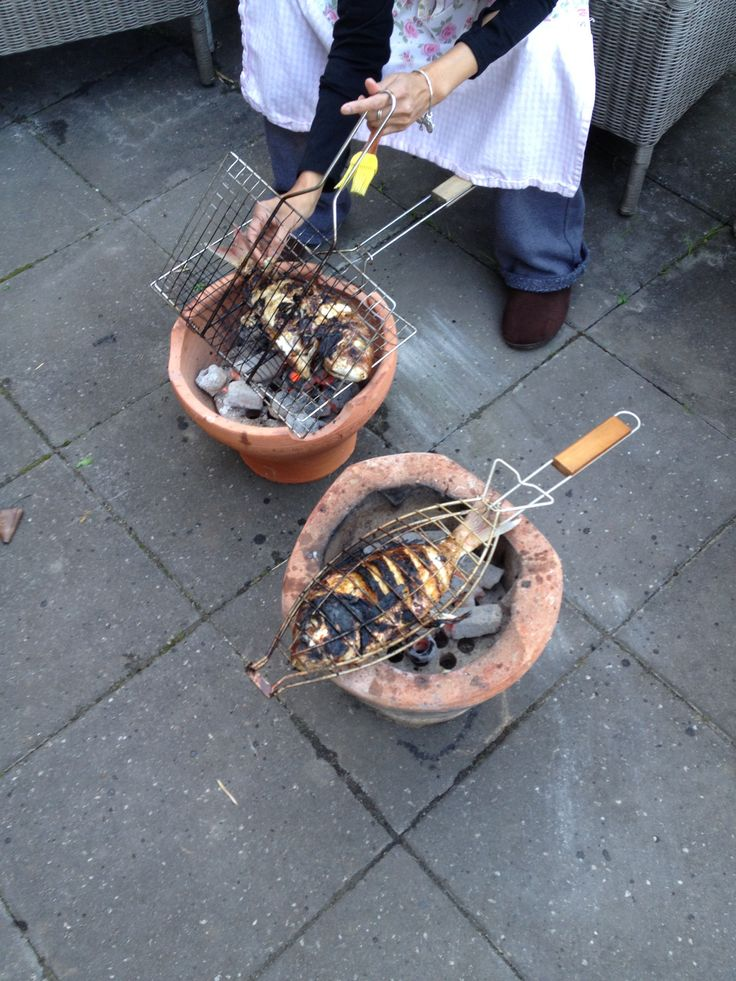 Blackened snapper on coals