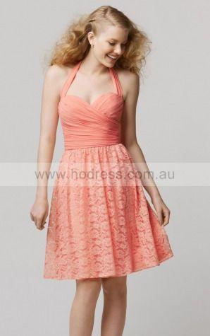 Sleeveless Halter Zipper Chiffon Knee-length Formal Dresses zsh031--Hodress