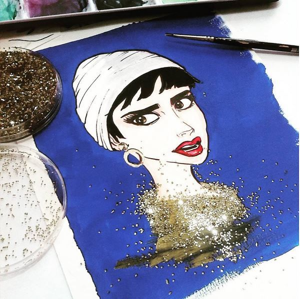 """Illustration by Isabel Hierro - gouache and watercolors. #glitter """"She loves glitter"""""""