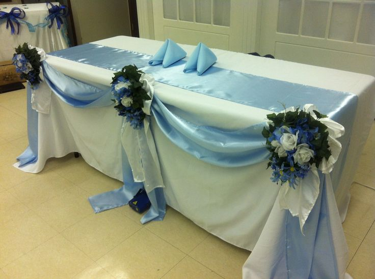 White/Baby Blue Satin Table Runners