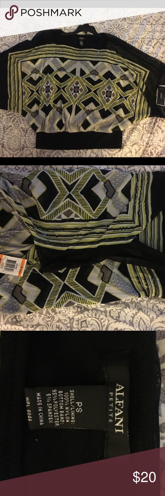 Macy's Dolman top NWT size small petite Alfani brand dolman aztec print dolman short sleeve top. Dress down with jeans or dress up with a black skirt. Alfani Tops Blouses