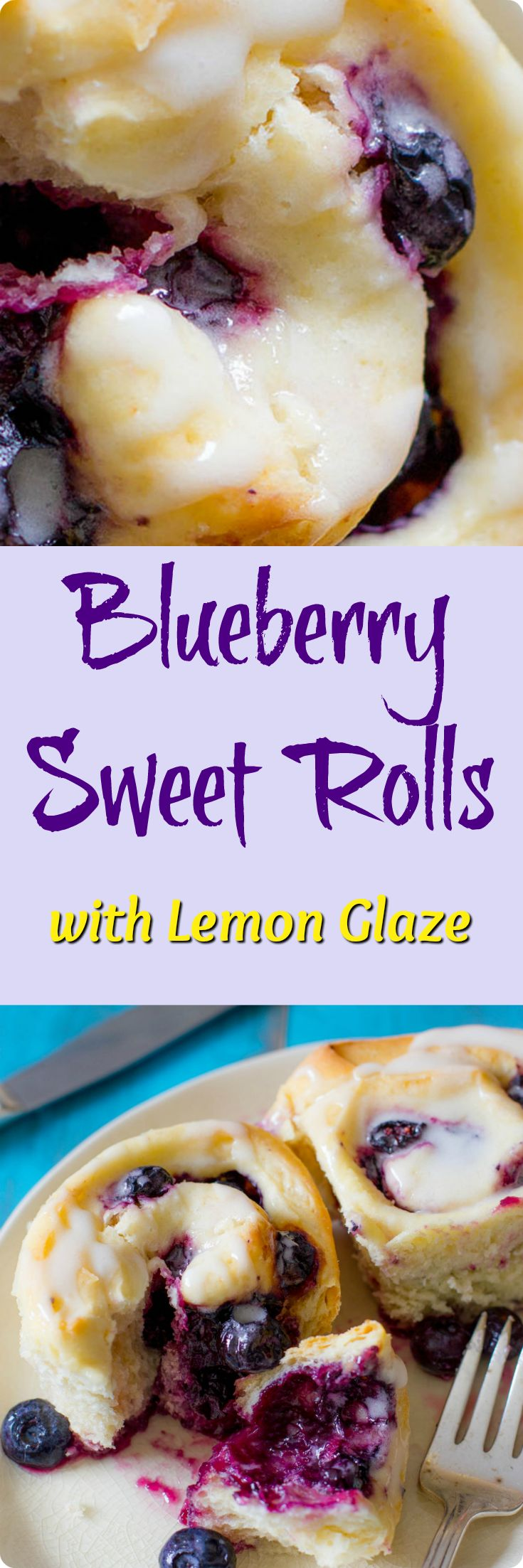 Soft & fluffy homemade sweet rolls filled with juicy blueberries and covered in a sweet lemon glaze. Find recipe at redstaryeast.com.
