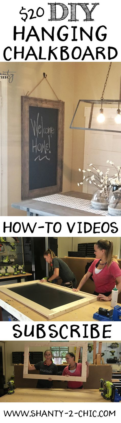 Love this DIY Hanging Chalkboard! Easy to build and perfect for any room. Free plans and how-to video at www.shanty-2-chic.com