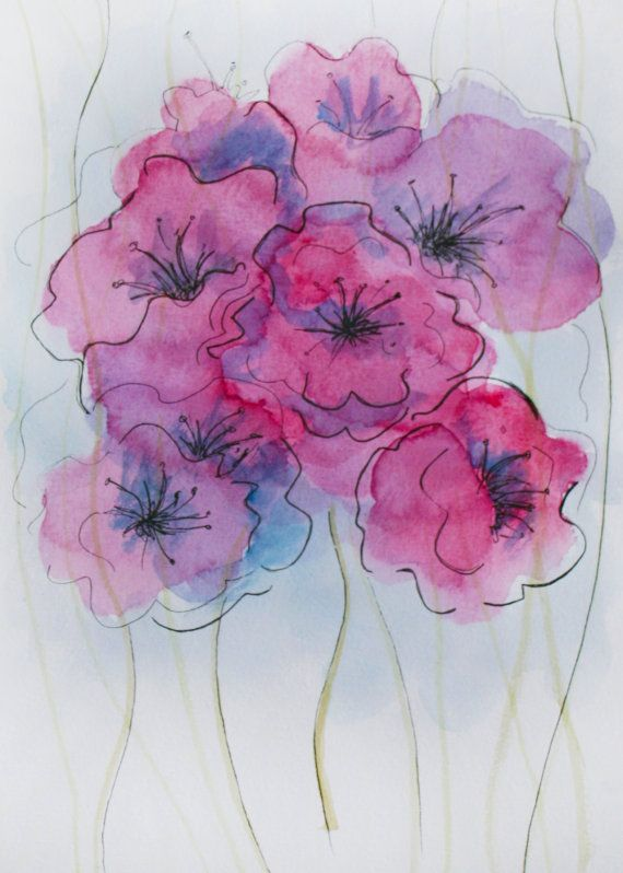 Flower Watercolor Painting Abstract Flower Painting Pink